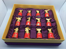 Factory Hot Sales!!!Twelve Zodiac Animals Red Ceramic Maotai Cup Set