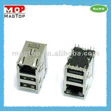 Rj45 Jack 10/100 base - TX / dual USB combo conector con leds blindado RJ45 conector