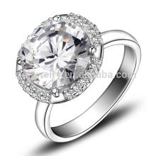 Grande de plata diamante anillo de boda par