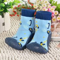 Sell-well cute socks shoes/socks with rubber with planet pattern