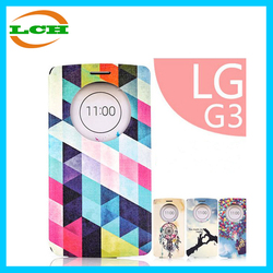 Smart dot view window flip pu leather cute with stand case for LG g3