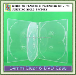 Fashion cheap transparent plastic 14mm 5/6 discs multi clear dvd case