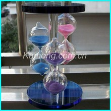 Cheap China wholesale crystal sand timer hourglass with the blue base