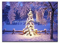 lighted up christmas tree canvas art fiber optic decoration