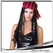 YILU synthetic cheap jack sparrow bandana wig