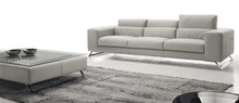 Big seating couch sofa with unique headrest in leather assembled stainless steel legs HS425#