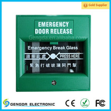 Red Fire alarm glass break emergency exit door button