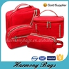 Red ripstop easy carry women travel makeup bags