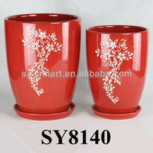 Pot for flower red pattern ceramic vase and pot