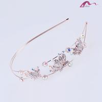 Elegant Charming Women Wedding Rose Gold Crystal Dotted Princess Crown Tiara Headband For Girls Bridal Hairbands Accessories