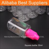 PET Clear Square 10ML 30ML Plastic PET Dropper Bottle For E Liquid
