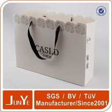 promotional good quality white striped paper bag pack