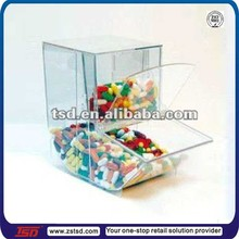 TSD-A826 Good price retail acrylic candy storage bins/clear acrylic food dispenser/candy bin acrylic