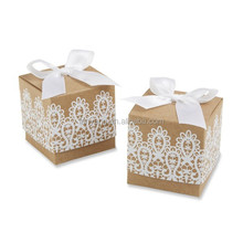 Nice new design Rustic & Lace Kraft Favor Boxes wholesale (BF892)