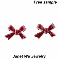 Customized Free Sample Express Shipping Wholesle 2015 New Design Gold Plating Metal Animal Earring Red Bowknow Earrings