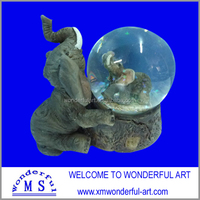unique resin elephant statues with water globe for sale