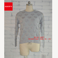 Fashion Heart Pattern Jacuqard Crew Neck Pullover Women's Sweaters