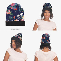 2015 New Fashion 3D Digita Navy Flower Warm Hat Women Funny Knitting Beanie