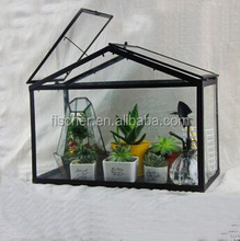 Vintage Style House Shape Shaped Glass Terrarium Bottle Garden Lead & Glass