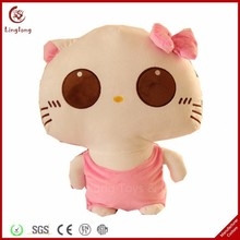 Cute plush cat toy with clothes and bowknot stuffed cartoon kitten doll soft animal shaped throw pillow