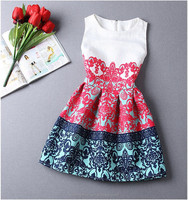 2015 New Summer Style Women Dress Casual Mini O-Neck Sleeveless Short A Line Dress Party Evening Elegant Summer Dress Plus Size