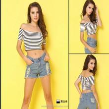 High quality ladies short sleeve crop tops,stripe tops