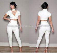 2014 blanco nueva sexy de dos pantalones de traje de moda vestido de noche elegante falda vendaje( n161)