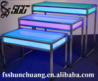 Rectangular Stainless Steel Banquet/Wedding/Bar/Home/'Hotel Table with LED Lights and Glass Top