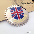 Encargo UK flag car grill badge, insignias del coche de Metal emblemas, Custom chrome emblemas de coches
