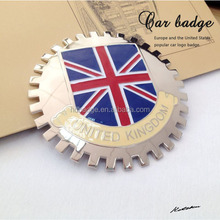 Custom UK flag car grill badge,Metal car badges emblems,Custom chrome car emblems