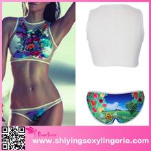 wholesale fashion women sexy bikini swimwear Neon Print Mesh Panel swimwear bikini