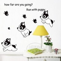 30pcs Puppy butterfly wall stickers decorative stickers cartoon children's room wall sticky painting