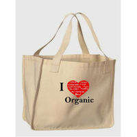 ecological I LOVE organic loving heart print nature jumbo big cotton tote shopping packaging bags ladies handbags wholesale