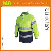 Long Sleeve Hi Vis Cotton Back Polo Shirt with Reflective Tape