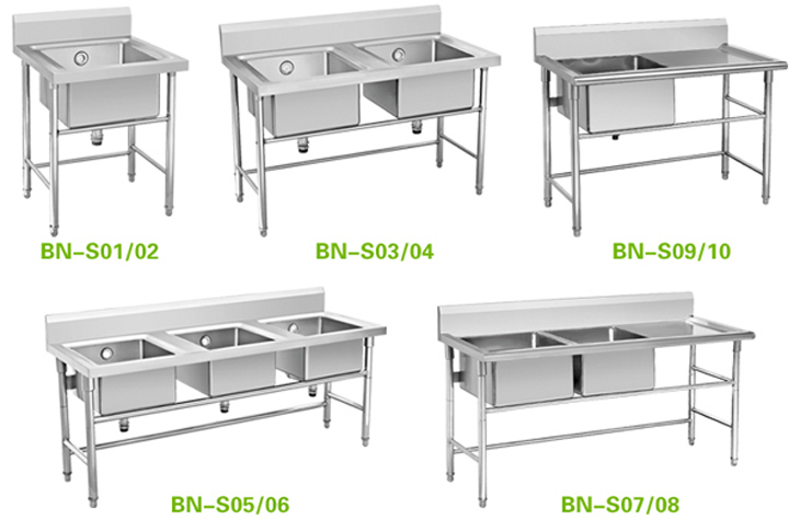 Commercial Stainless Steel Sink Table With Bottom Shelf For Pots - Standing table for restaurant