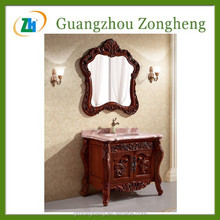 G91016 Marble Table Top Bathroom Cabinet Vanity Wooden Cabinet For Shower Room With Two Doors