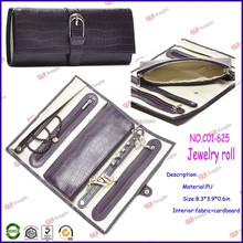 china factory price wholesale jewelry organizers for leather jewelry travel roll with zipper C01-625