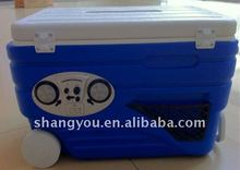 80L blue recreational plastic camping cold box with speaker