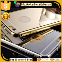 Hard aluminum metal bumper frame cell phone case with mirror, case for apple iphone6+