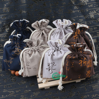 Wholesale 13*16cm Linen and Cotton Drawstring Bag With Pritting