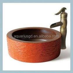 Luxury Italian hand painted ceramic purple vessel sink