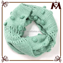 2015 pure color handmade balls neck warmer scarf for woman