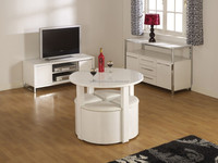 DT-2023 Stowaway Hideaway High Gloss Dining Set Table with 4 Chairs Stools