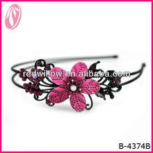 último diseño rojo de cristal del metal venda de la flor de las niñas