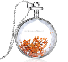 decorative natural dried flowers necklace in many style of glass