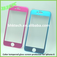 full coverage anti-scratch titanium alloy color tempered glass screen protector for iphone 6