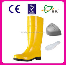 yellow pvc rain boots/wellington boots/safety gumboots for food industry