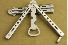 new arrival Metal silver and black butterfly knife bottle opener for outdoor activities