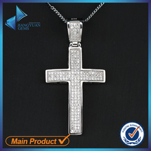 China Factory Cubic Zirconia Micro Pave Cross 925 Silver Pendant