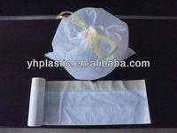 HDPE drawstring garbage bags on roll